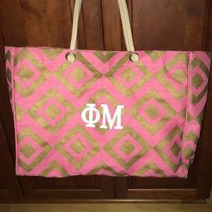 Phi Mu monogrammed tote bag